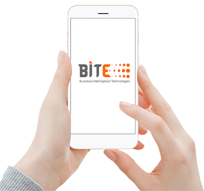 A hand holds a phone with the Bite logo
